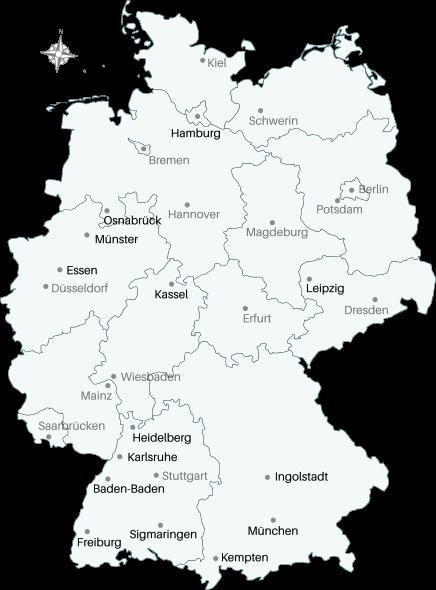 Deutschlandkarte mit Markern an den Orten Essen, Freiburg, Ingolstadt, Kassel, Leipzig, Münsterland und Sigmaringen